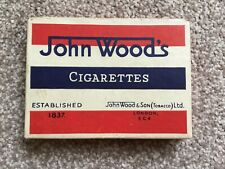 VINTAGE EMPTY CARDBOARD CIGARETTE BOX JOHN WOOD'S RED OUTER 1940s ?