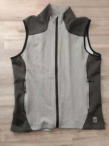 Men's SMARTWOOL Vest Large Smoke Grey Merino Wool Blend Zip Up Athletic