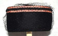 Vintage Merrimac Black w/ Salmon Grosgrain Ribbon Fur Felt Womens Hat Size M USA