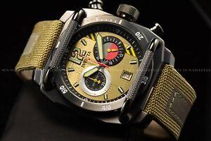 Invicta Men 48mm Aviator Gunmetal Beige Chronograph Nylon/Leather Strap Watch
