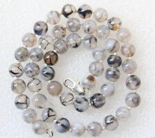 Long 36inches 8mm Natural White Black Dragon Veins Agate gemstone Bead Necklaces