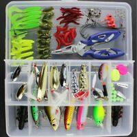 101Pcs/Set Fishing Lures Tackle Spinners Plugs Soft Bait Pike Trout Salmon + Box