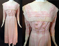 Edwardian Pink Plaid White Cotton Eyelet Embroidery Lace Trim Dress Tea Gown Vtg