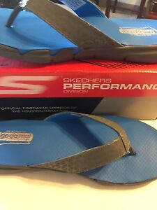 NWT Skechers Goga May 360 Performace 12 Men Flip Flop Blue AGION Slippers