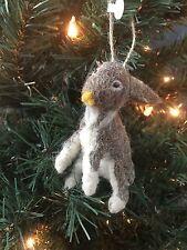 "CODY FOSTER ORNAMENT Christmas FELT RABBIT 4"" ~ BROWN~ SITTING~ *NEW*"