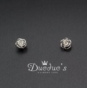 925 Sterling Silver Rose Flower Stud Earrings