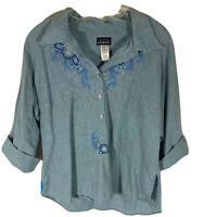 Patagonia Women's Size L 3/4 Sleeve Embroidered Button Down Vintage Blouse Blue