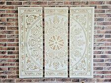 Edles 3tlg. XL Wandbild 90x90 cm HOLZ gefräst Mandala Ornament Yoga Bild