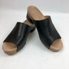 Dansko Womens Maci Comfort Sandals 3622020600 Black Brown Block Heel Slip On 9 M