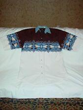 Mens Plains Western Wear Pearl Snap Short Sleeve Blanket Design Shirt Pockets L