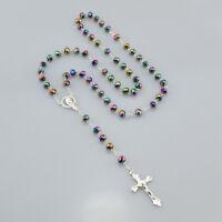 Women Christian Catholic Mystical Silver Rosary Necklace 6mm*8mm Prayer Beads