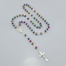 Women Christian Catholic Mystical Silver Rosary Necklace 6mm*8mm Prayer Beads