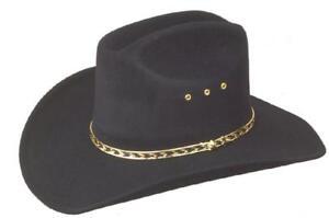 NEW WESTERN COWBOY STETSON BLACK CATTLEMAN HAT - FANCY DRESS - S,M,L,XL,61,62,63