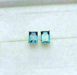 2.50CT Emerald Cut London Blue Topaz Solitaire Stud Earrings 14K White Gold Over