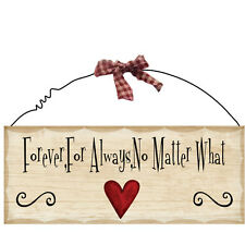 """10""""x 4"""" Wood Sign Forever Always No Matter What Wall Hanging Decor Wooden 308"""