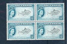 ASCENSION 1956 DEFINITIVES SG63 4d BLOCK OF 4 MNH