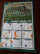 "1977 EDMONTON ESKIMOS calendar POSTER 12"" x 19"" CFL classic"