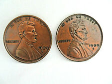 2 Vintage Large Cast Metal Abraham Lincoln Head Penny Coasters