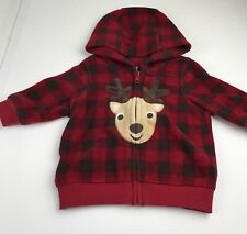 Gymboree Reindeer Frolic Baby Boy 3-6 Mo Red Blk Buffalo Check Hoodie Front Zip