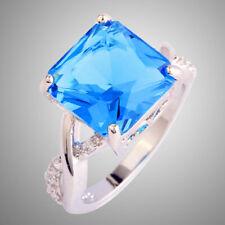 925 Sterling Silver 3.5 Carat Blue Topaz Ring