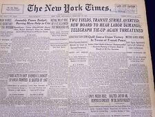 1946 FEB 27 NEW YORK TIMES NEWSPAPER - TWU YIELDS TRANSIT STRIKE AVERTED - NT 50
