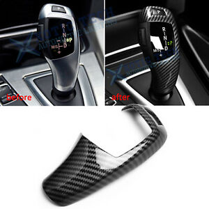 For BMW F30 F20 F10 X3 X4 X5 X6 Carbon Fiber Pattern Gear Shift Knob Cover Trim