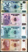 CONGO SET 4 PCS 50 100 200 500 FRANCS 2013 UNC