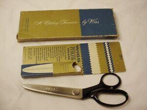 "Vtg Wiss CB-7 Pinking Shears Scissors USA Stainless Steel 7 1/2"" long Box FrShip"