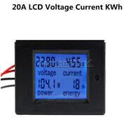 20A DC Battery Digital LCD Voltage Watt Current Kwh Power Meter Ammeter Monitor
