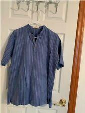 Fab India mens blue printed cotton short kurta