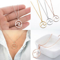 Simple Delicate Ocean Wave Shape Necklace Spoondrift Pendant Chain Jewelry