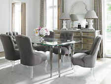ESTELLE 7 Piece Dining Room Set   Rectangular Glass Top Silver Table Gray  Chair