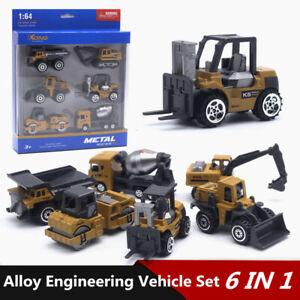 6pc/lot Diecast 1:64 Excavator Truck Forklift Engineering Vehicle Model Kids Toy