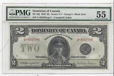 **1923**Dom. of Canada $2 Note DC-26j, Blk Seal Gr #3 Ser #U-862386 PMG AU-55