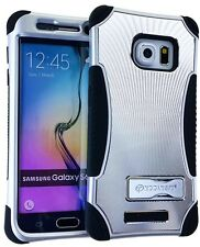 Gray Metal Heavy Duty Armor Impact Hard Soft Cover Case for Galaxy S6 Edge