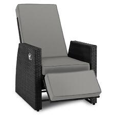 Black Garden Deck Chair Reclining Patio Rattan Polyester Home Furniture Footrest