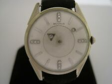 Benrus Vintage 14K White Gold Diamond Mystery Dial Manual Wind Dress Watch