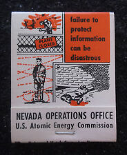 RARE U.S. COLD WAR PROPAGANDA MATCHBOOK Atomic Energy Matches Security FAILURE