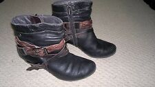 Ankle-Black-Size 37-Buckle Detail-Leather,Brown Straps-Cuban Heel-Teen-Ladies-6