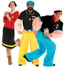 Popeye 1980s Cartoon Character Olive Oyl, Brutus 80s Fancy Dress Adult Costume