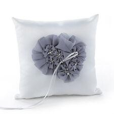 Glamorous Gray White Wedding Ring Bearer Pillow