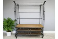 Tall Industrial Metal Wardrobe With 2 Mesh Drawers