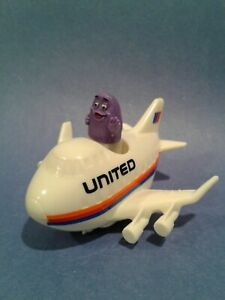 United Airlines Grimace McDonalds Toy Push and Go White Airplane 1991