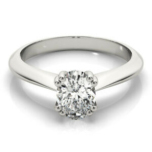 DIAMOND ENGAGEMENT RING OVAL F SI1 0.70 CARAT SOLITAIRE CERTIFIED 14K WHITE GOLD