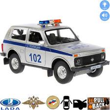 Lada 4x4 VAZ 2121 Niva Diecast Metal Model Car Russian Police Toy Lights Sounds
