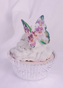 Butterfly Cake Topper 20pc Edible Flower Unicorn Princess Engagement Tea Baby