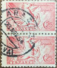 BLOQUE DE 2 SELLOS (1942) USADOS  - EDIFIL 952 (25 cts) PEGASO