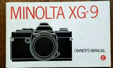 Minolta Xg-9 Owner'S Instruction Manual, 1979, New Book