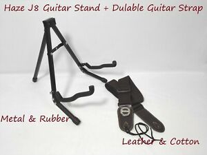 Haze HS-J8 Foldable Metal & Rubber Structure Guitar Stand+Leather & Cotton Strap