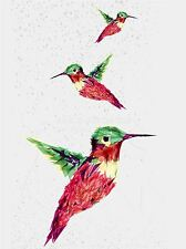 ART PRINT POSTER PAINTING DRAWING TRIO POLYGON HUMMINGBIRDS PICTURE LFMP1131
